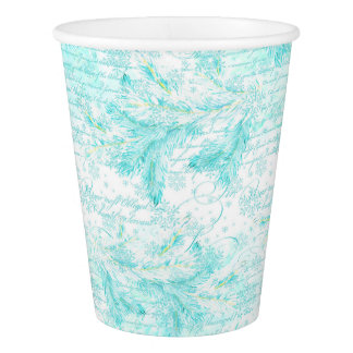 Christmas evergreen leaves paper cup
