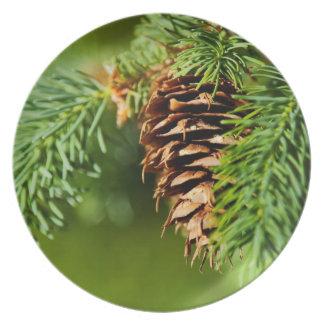 Christmas Evergreen Pine Cone Needles Tree Trees Melamine Plate