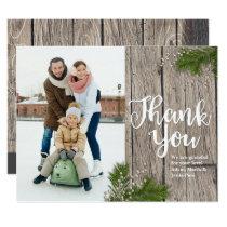 Christmas Evergreen & Wood Thank You Photo Card