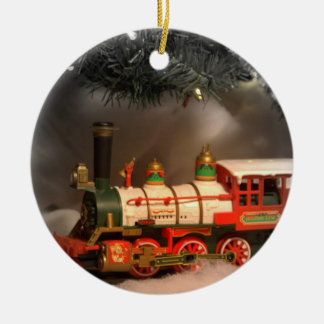 Christmas Express Train Double-Sided Ceramic Round Christmas Ornament