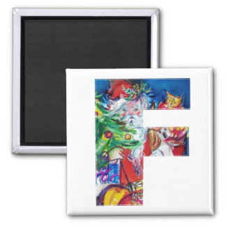 CHRISTMAS F LETTER / SANTA WITH CHRISTMAS TREE 2 INCH SQUARE MAGNET