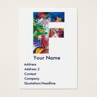 CHRISTMAS F LETTER / SANTA WITH CHRISTMAS TREE BUSINESS CARD