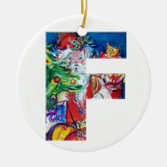 CHRISTMAS F LETTER / SANTA WITH CHRISTMAS TREE CERAMIC ORNAMENT