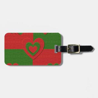 christmas fabric hearts love red bag tag