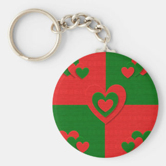 christmas fabric hearts love red keychain
