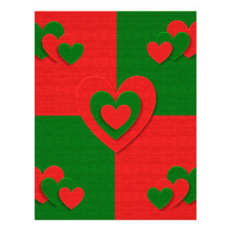 christmas fabric hearts love red letterhead