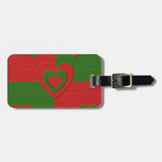 christmas fabric hearts love red luggage tag