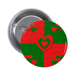 christmas fabric hearts love red pinback button