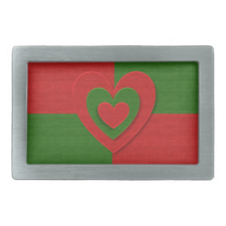 christmas fabric hearts love red rectangular belt buckle