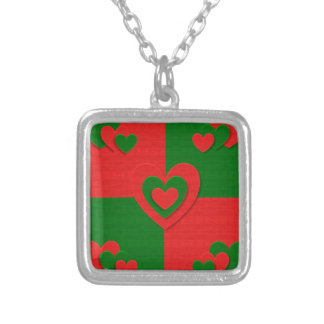 christmas fabric hearts love red silver plated necklace