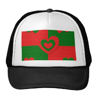 christmas fabric hearts love red trucker hat