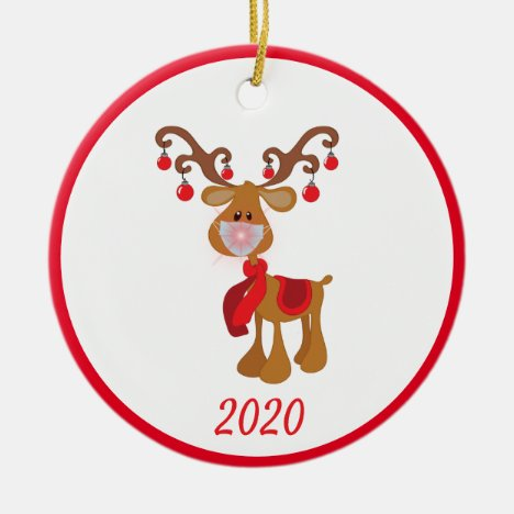 Christmas Face Mask Rudolph Reindeer 2020 Ceramic Ornament