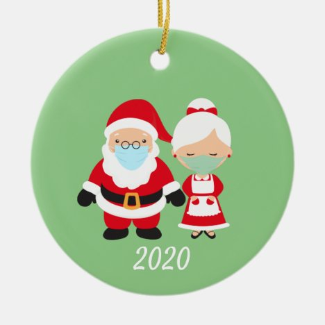 Christmas Face Mask Santa and Mrs. Claus Ceramic Ornament