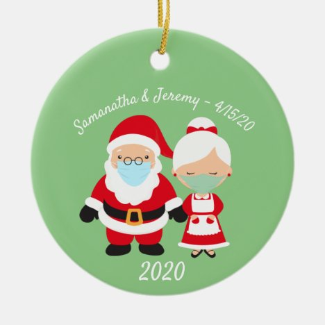 Christmas Face Mask Santa and Mrs. Claus Wedding Ceramic Ornament