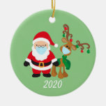 Christmas Face Mask Santa and Reindeer 2020 Ceramic Ornament