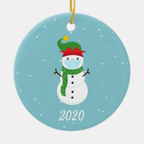 Christmas Face Mask Snowman 2020 Ceramic Ornament