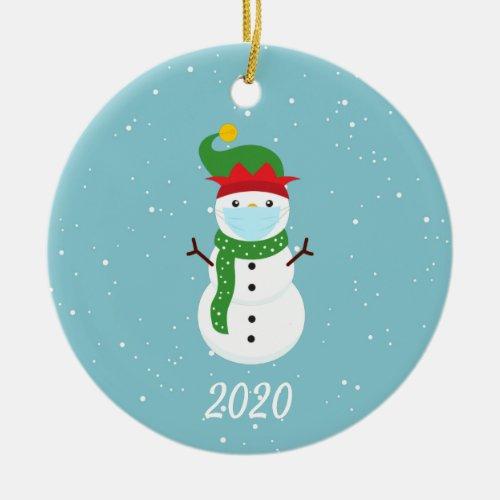 Christmas Face Mask Snowman 2020 Ceramic Ornament