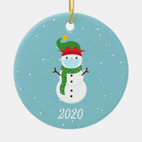 Christmas Face Mask Snowman 2021 Ceramic Ornament