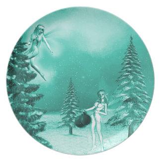 Christmas fairy Decorating Plate greene