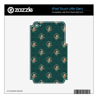 Christmas Fairy Green Damask Skins For iPod Touch 4G