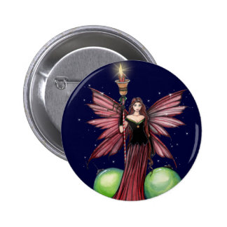 Christmas Fairy Pin Button by Molly Harrison