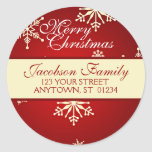 Christmas Family Address Classic Round Sticker