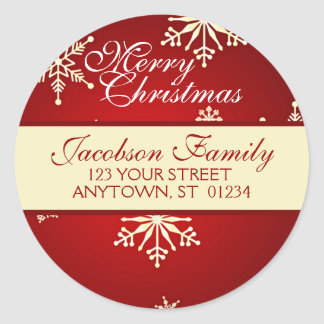 Christmas Family Address Round Stickers