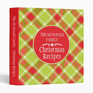 Christmas family holiday recipe tartan folder 3 ring binders