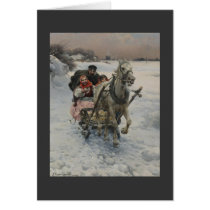 Christmas Family in One Horse Sleigh Card