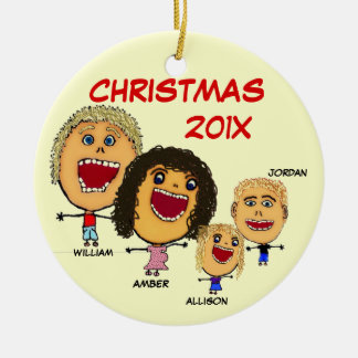 Christmas Family of Four Cartoon with Pregnant Mom Double-Sided Ceramic Round Christmas Ornament