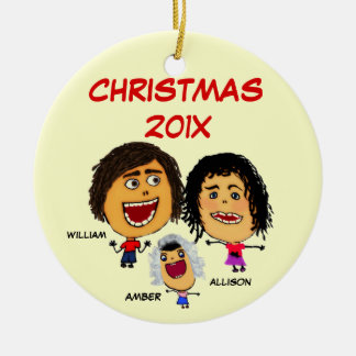 Christmas Family of Three Cartoon Double-Sided Ceramic Round Christmas Ornament