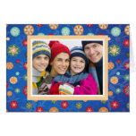 Christmas Family Photo Bright Blue Snowflakes Greeting Cards