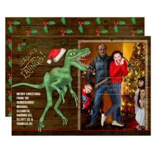 Christmas Family Photo Card | Funny Velociraptor