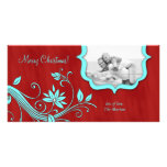 Christmas Family Photo Card Icy Blue & Red floral