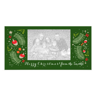 Christmas family photo card with fir/rose hips