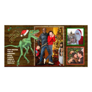 Christmas Family Photo Funny Velociraptor Dinosaur Card