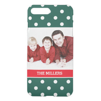 Christmas Family Photo Green Red White Polka Dots iPhone 7 Plus Case