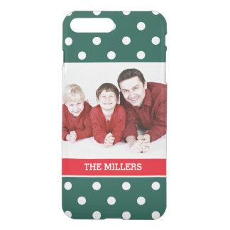 Christmas Family Photo Green Red White Polka Dots iPhone 8 Plus/7 Plus Case