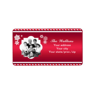 Christmas Family Photo Red Stripe Personalized Address Labels