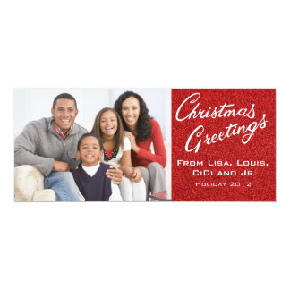 Christmas Family Portrait Card with Red Glitter