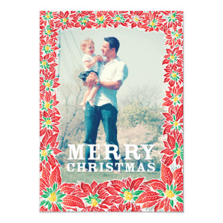 Christmas Family Portrait Poinsettia Greetings Card