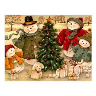 Christmas family with tree and dog postcard