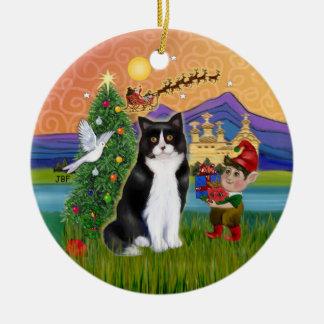 Christmas Fantasy - Black and white Tuxedo cat Ceramic Ornament