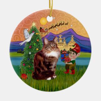 Christmas Fantasy - Maine Coon cat Ceramic Ornament