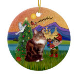 Christmas Fantasy - Maine Coon cat Double-Sided Ceramic Round Christmas Ornament
