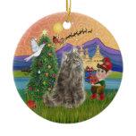 Christmas Fantasy - Norwegian Forest cat Ceramic Ornament