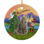 Christmas Fantasy - Norwegian Forest cat Double-Sided Ceramic Round Christmas Ornament