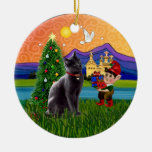Christmas Fantasy - Russian Blue cat Double-Sided Ceramic Round Christmas Ornament