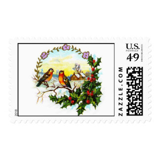 Christmas Farm and Birds Stamps