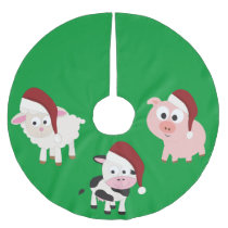 Christmas Farm Animals Brushed Polyester Tree Skirt